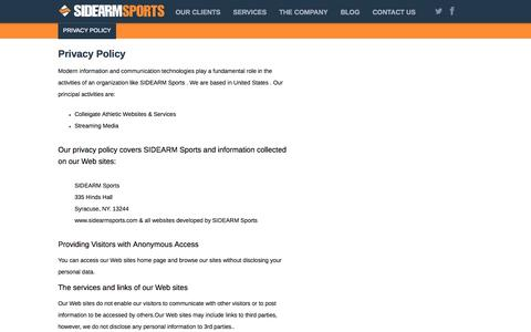 Screenshot of Privacy Page sidearmsports.com - Privacy Policy | SIDEARM Sports – The #1 Provider of College Athletics Websites - captured Sept. 18, 2014