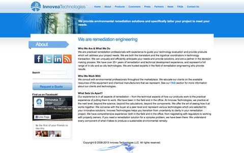 Screenshot of About Page innoveatech.com - Innovea Technologies - Environmental Remediation Solutions - In Situ and Ex Situ Technologies - Wide Range of Remediation Products and Solutions - captured Feb. 11, 2016