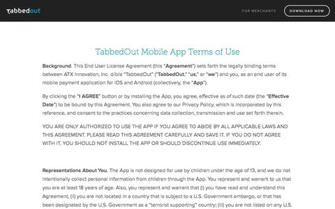 TabbedOut Terms of Use — TabbedOut