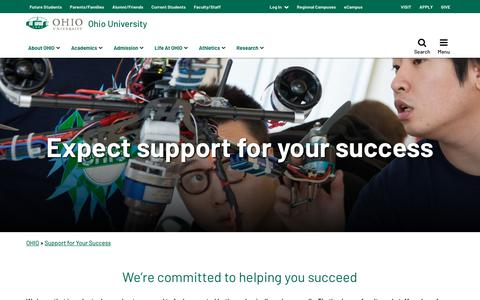 Screenshot of Support Page ohio.edu - OHIO Support for Your Success | Ohio University - captured July 14, 2019