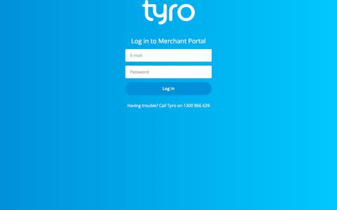 Screenshot of Login Page tyro.com - Tyro Merchant Portal - captured Sept. 19, 2018
