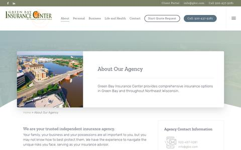 Screenshot of About Page gbic.com - About Our Agency - Green Bay Insurance Center - captured Aug. 3, 2019
