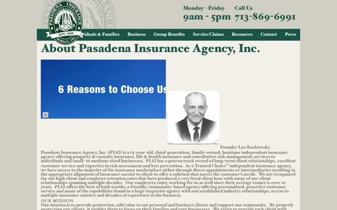 Screenshot of About Page pasins.com - About Us | Pasadena Insurance Agency, Inc. - captured Jan. 25, 2016