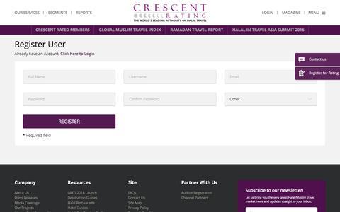 Screenshot of Signup Page crescentrating.com captured July 3, 2016