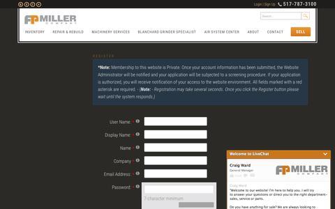Screenshot of Signup Page fpmiller.com - FP Miller > Register - captured Feb. 4, 2016