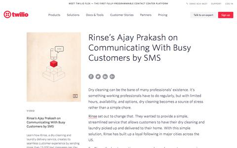 Screenshot of Case Studies Page twilio.com - Rinse's Ajay Prakash on Communicating With Busy Customers by SMS - Commerce Communications - Twilio - captured Nov. 28, 2019