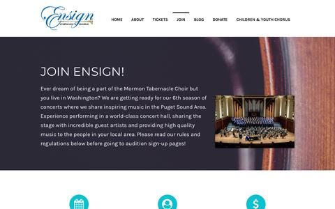 Screenshot of Signup Page seattleensign.org - JOIN – Ensign Symphony & Chorus - captured Sept. 28, 2018
