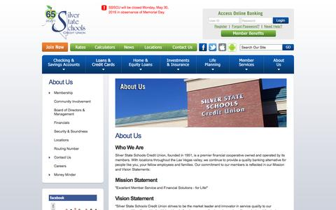 Screenshot of About Page silverstatecu.com - Silver State Schools Credit Union : About SSSCU - Clark County Nevada- Las Vegas - Membership For Students, Teachers, Education Employees and Their Families - captured May 27, 2016
