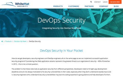DevOps Security - WhiteHat Security