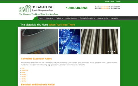 Screenshot of Products Page edfagan.com - Controlled Expansion Alloys, Electronic-Electrical Nickel, Soft Magnetic Alloys, Refractory Metals and Alloys, Stencil Grade Stainless Steel from EFI - captured Sept. 27, 2018