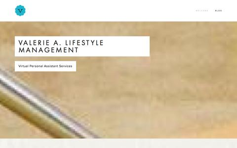 Screenshot of Home Page valeriea.com - valerie a. lifestyle management - captured Oct. 9, 2014