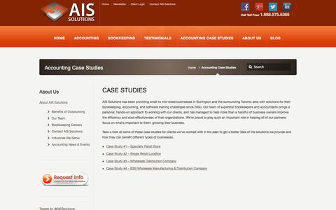 Screenshot of Case Studies Page aissolutions.ca - Burlington Small Business Accounting Case Studies | Oakville - captured Feb. 4, 2016