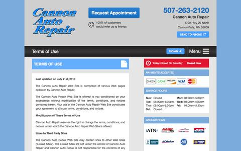 Screenshot of Terms Page cannonautorepair.com - Cannon Auto Repair - Terms of Use - captured July 18, 2015