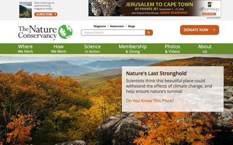 Screenshot of Home Page nature.org - Nature Conservancy | Protecting Nature, Preserving Life - captured Jan. 20, 2016