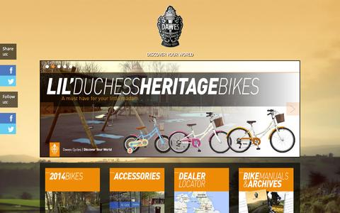Screenshot of Home Page dawescycles.com - Dawes Cycles,Touring, Road, Heritage,Lightweight kids bikes - captured Sept. 19, 2014