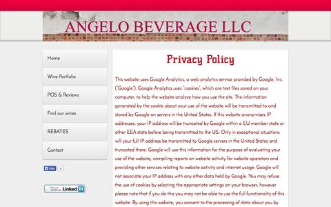 Screenshot of Privacy Page angelobev.com - Privacy Policy - Website of angelobev! - captured Oct. 4, 2014