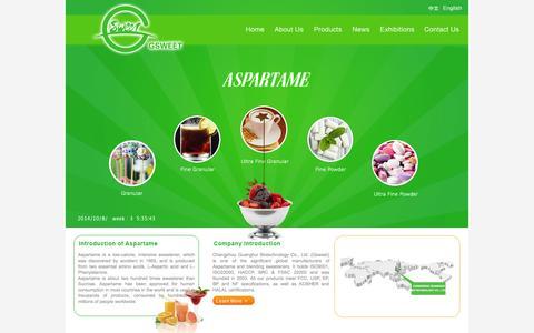 Screenshot of Home Page gsweetltd.com - CHANGZHOU GUANGHUI BIOTECHNOLOGY CO.,LTD. - captured Oct. 8, 2014