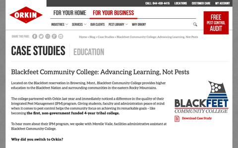 Screenshot of Case Studies Page orkin.com - Blackfeet Community College: Advancing Learning, Not Pests - Orkin - captured Oct. 26, 2018