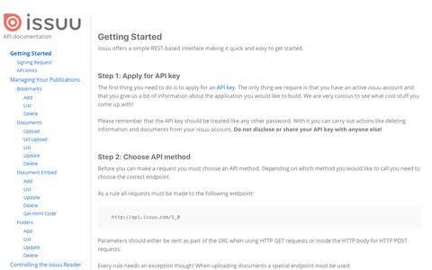 Getting Started | issuu API Documentation