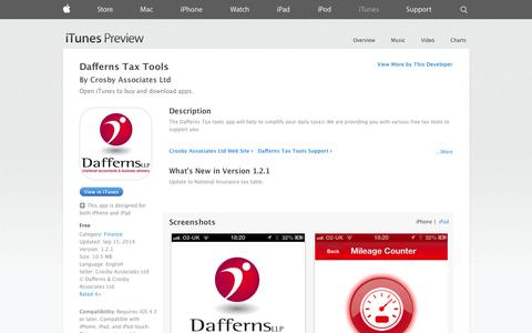 Screenshot of iOS App Page apple.com - Dafferns Tax Tools on the App Store on iTunes - captured Oct. 23, 2014