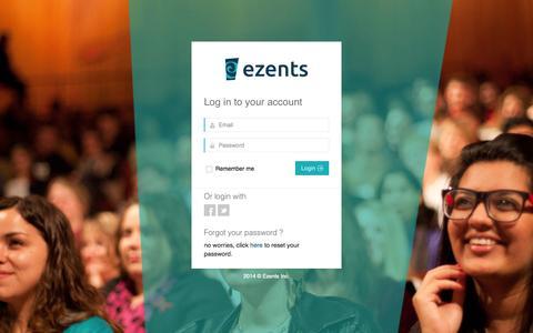 Screenshot of Login Page ezents.com - Ezents  | Event registration, management and marketing - captured Oct. 3, 2014