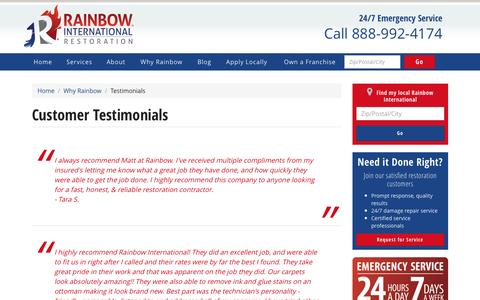 Screenshot of Testimonials Page rainbowintl.com - Customer Testimonials | Rainbow International - captured March 24, 2017
