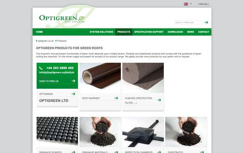 Screenshot of Products Page optigreen.co.uk - Products - Green roof solutions by optigreen - captured Oct. 18, 2018