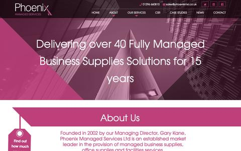 Screenshot of About Page phoenixmsl.co.uk - Phoenix Managed Services Ltd – Fully Managed Business Supplies - captured Sept. 28, 2018