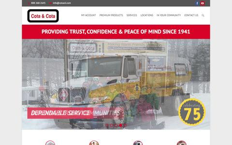 Screenshot of Home Page cotaoil.com - Cota & Cota, family-owned & operated heating professionals serving VT & NH. - captured Feb. 1, 2016