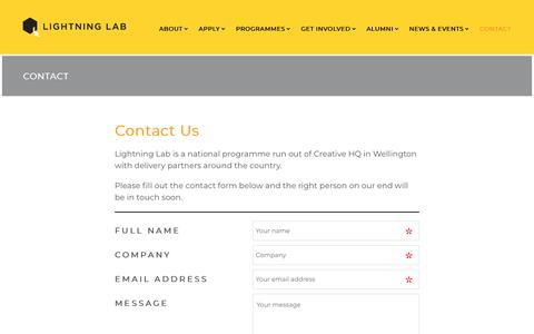 Screenshot of Contact Page lightninglab.co.nz - CONTACT | Lightning Lab - captured July 19, 2018