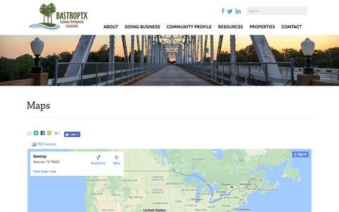 Screenshot of Maps & Directions Page bastropedc.org - Maps | Bastrop EDC - captured Nov. 22, 2016