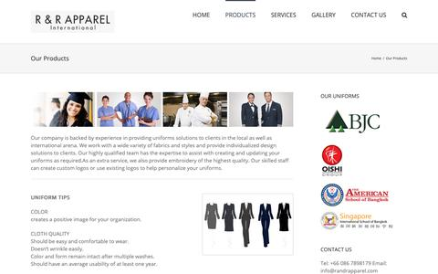 Screenshot of Products Page randrapparel.com - Our Products - R and R Apparel - captured Oct. 2, 2018