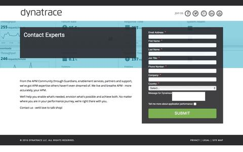 Screenshot of Landing Page dynatrace.com - Contact Experts - captured March 15, 2016