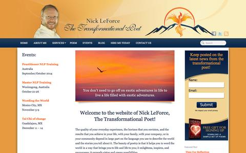 Screenshot of Home Page transformationalpoet.com - The Transformational Poet: Nick LeForce - captured Oct. 9, 2014