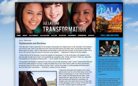 Screenshot of Testimonials Page abundantlifeacademy.com - Testimonies and Reviews | Abundant Life Academy - captured Sept. 30, 2014