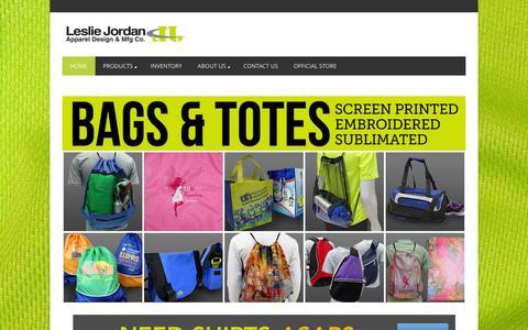 Screenshot of Home Page lesliejordan.com - HOME - Leslie JordanLeslie Jordan | Apparel Design & Manufacturing Co. - captured Jan. 28, 2016