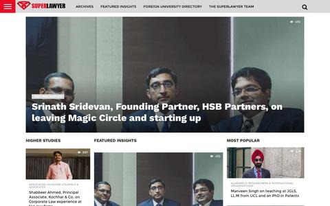 Screenshot of Home Page superlawyer.in - SuperLawyer – share your career experience and professional insights with law students and lawyers - Curating career insights for lawyers and law students, one interview at a time - captured Aug. 16, 2016