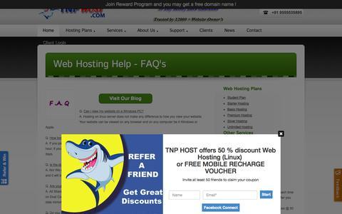 Screenshot of FAQ Page tnphost.com - Web Hosting Help - TnpHost ® | TnpHost.com - captured Sept. 25, 2014