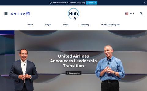 Screenshot of Press Page united.com - Newsroom - United Hub - captured Feb. 7, 2020