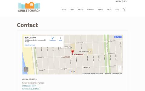 Screenshot of Contact Page sunsetchurchsf.org - Contact | Sunset Church of San Francisco - captured Feb. 25, 2016