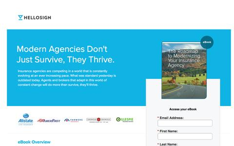 Screenshot of Landing Page hellosign.com - Free eBook: The Roadmap to Modernizing Your Insurance Agency - captured Aug. 17, 2016