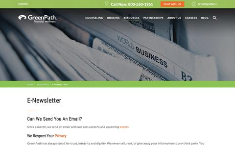 Screenshot of Signup Page greenpath.com - Sign Up for GreenPath's Free E-Newsletter, Pathways - captured Sept. 30, 2018