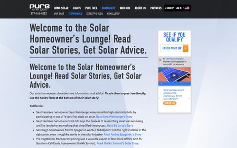 Screenshot of Testimonials Page pureenergies.com - Welcome to the Solar Homeowner's Lounge! Read Solar Stories, Get Solar Advice. - Pure Energies USA - captured Oct. 10, 2014