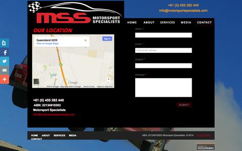 Screenshot of Privacy Page Contact Page motorsportspecialists.com - Motorsport Specialists - Contact - captured Oct. 25, 2014