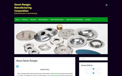 Screenshot of About Page sevenranges.com - About Seven Ranges    Seven Ranges Manufacturing Corporation - captured Dec. 2, 2016
