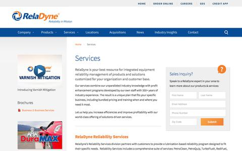 Screenshot of Services Page reladyne.com - Reliability Services & Custom Blending | Tank Monitoring | RelaDyne LLC - captured July 25, 2018