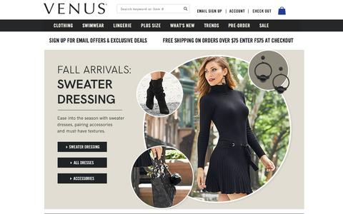 Screenshot of Home Page venus.com - Women's Fashion   Shop Online   VENUS - captured Sept. 21, 2018