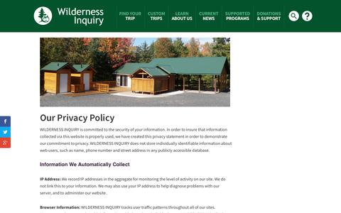 Screenshot of Privacy Page wildernessinquiry.org - Privacy Policy - Wilderness Inquiry - captured Oct. 20, 2018