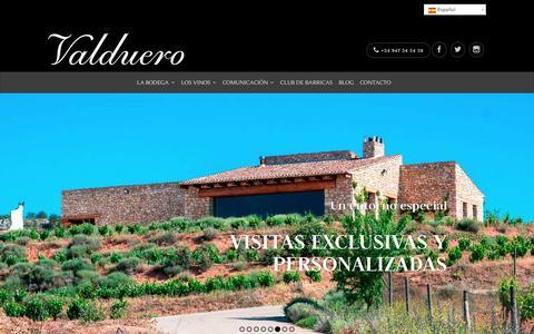 Screenshot of Home Page bodegasvalduero.com - Valduero, los mejores reservas de la Ribera del Duero. - captured Jan. 6, 2016