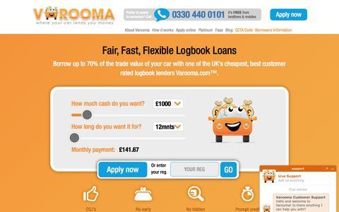 "Screenshot of Home Page varooma.com - Logbook Loans Same Day & UK's Best Rated! - Varoomaâ""¢ 2016 - captured July 7, 2016"